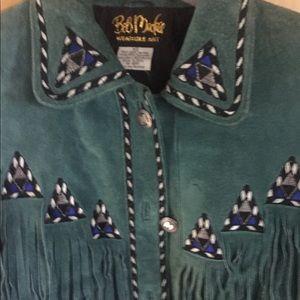 Bob Mackie Jackets & Coats - Leather Fringe Jacket - Dark Green - Worn One Time